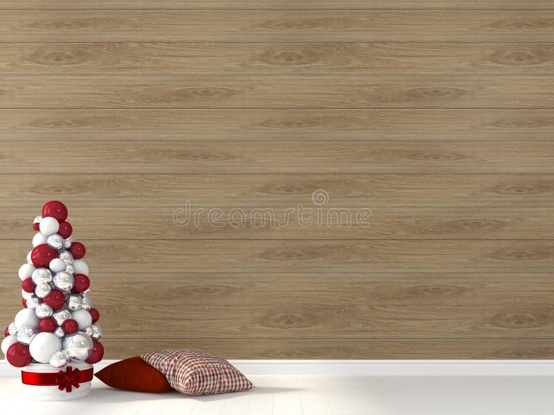 Gestileerde Kerstboom tegen de achtergrond van houten muur stock afbeelding