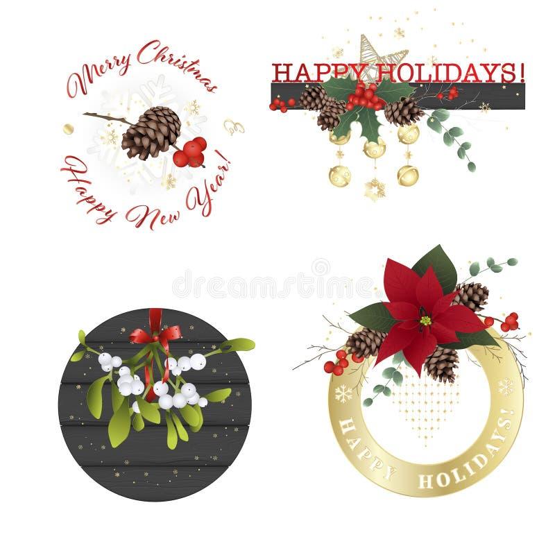 Gestileerde Kerstmis en van het Nieuwjaar samenstellingen voor kaarten en uitnodigingen royalty-vrije illustratie