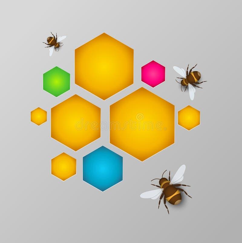 Gestileerde kleurrijke honingraat met honing en bijen royalty-vrije illustratie