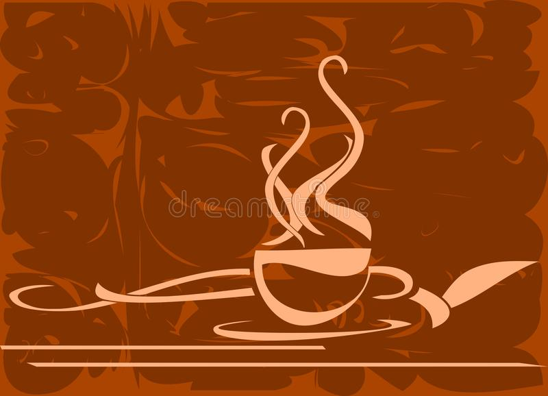 Gestileerde Koffiekop op aardige kleurrijke achtergrond vector illustratie