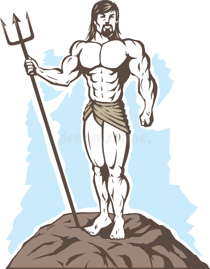 Gestileerde Koning Neptune vector illustratie