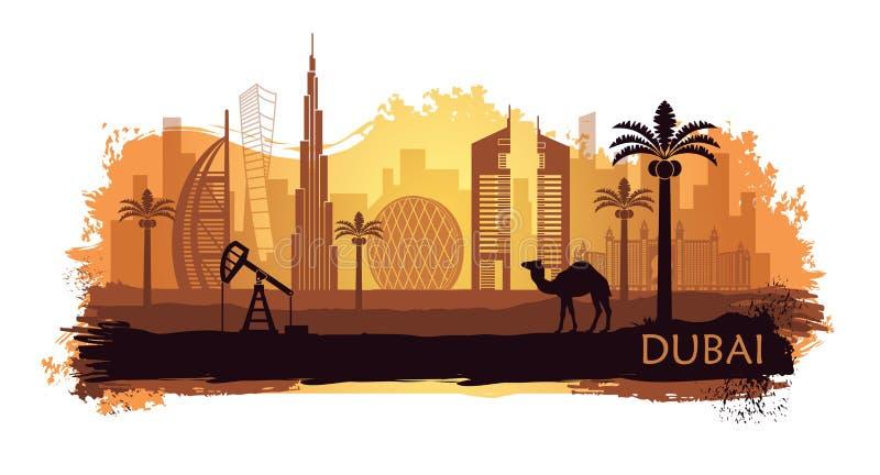 Gestileerde kyline van Doubai met kameel en dadelpalm met vlekken en plonsen van verf Verenigde Arabische emiraten vector illustratie