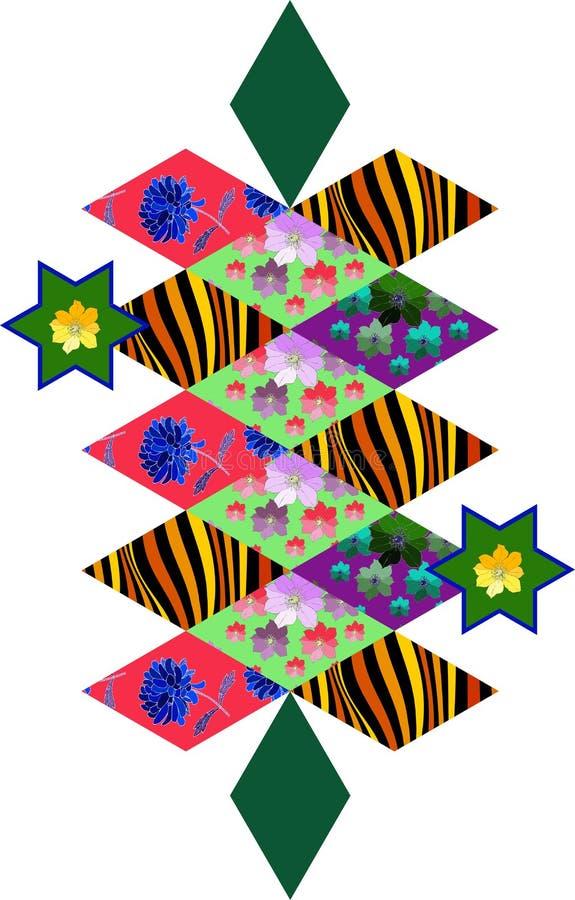 Gestileerde lapwerkkrokodil van verschillende ruitflarden vector illustratie