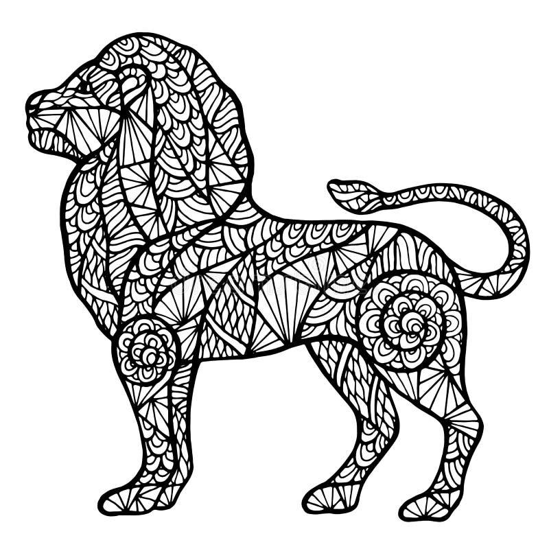 Gestileerde Leeuw Zentangle Vector Illustratie