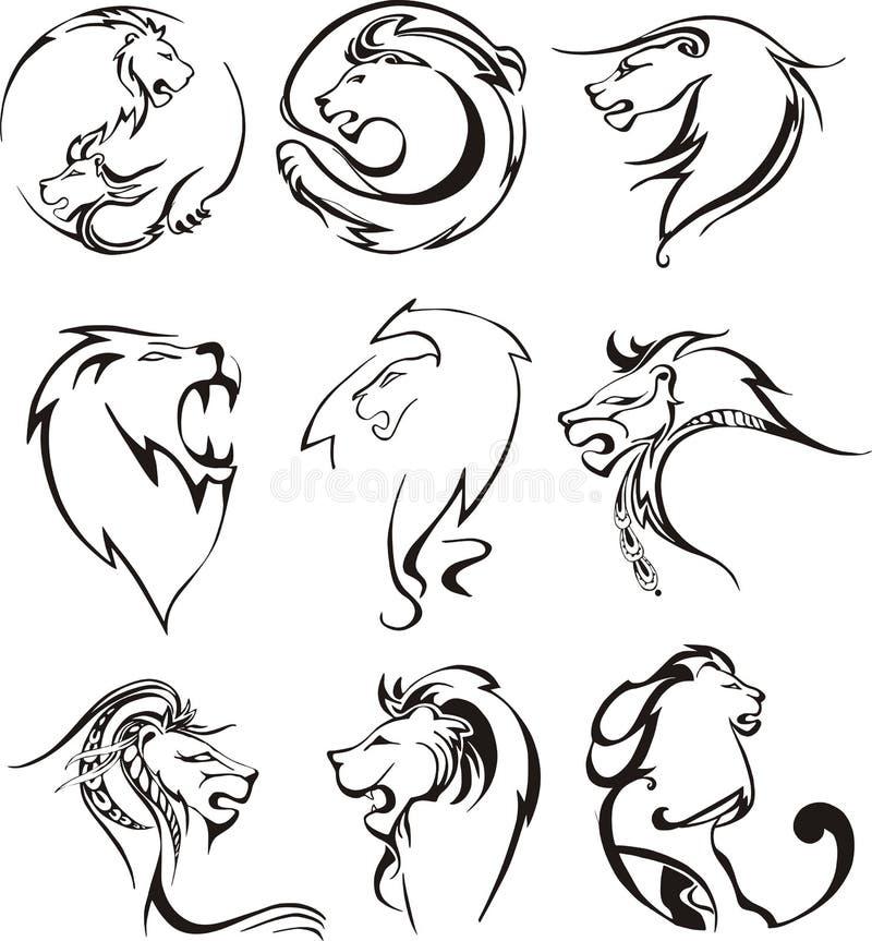 Gestileerde leeuwhoofden royalty-vrije illustratie