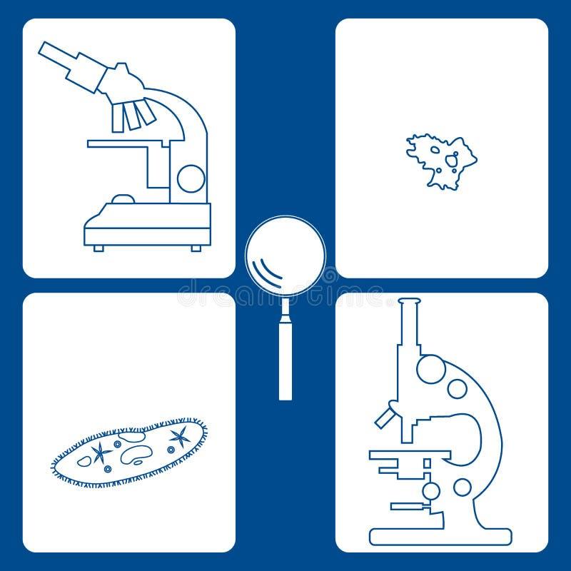 Gestileerde meer magnifier pictogrammen van microscopen, met haartjes bedekte -met haartjes bedekt-slippe amoebe, vector illustratie