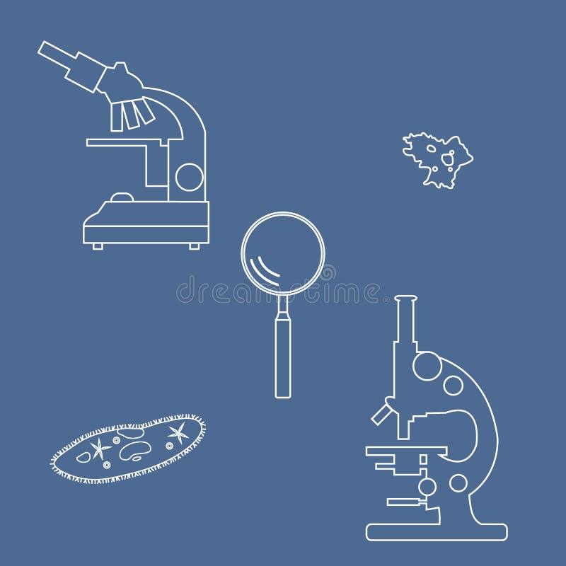 Gestileerde meer magnifier pictogrammen van microscopen, met haartjes bedekte -met haartjes bedekt-slippe amoebe, stock illustratie