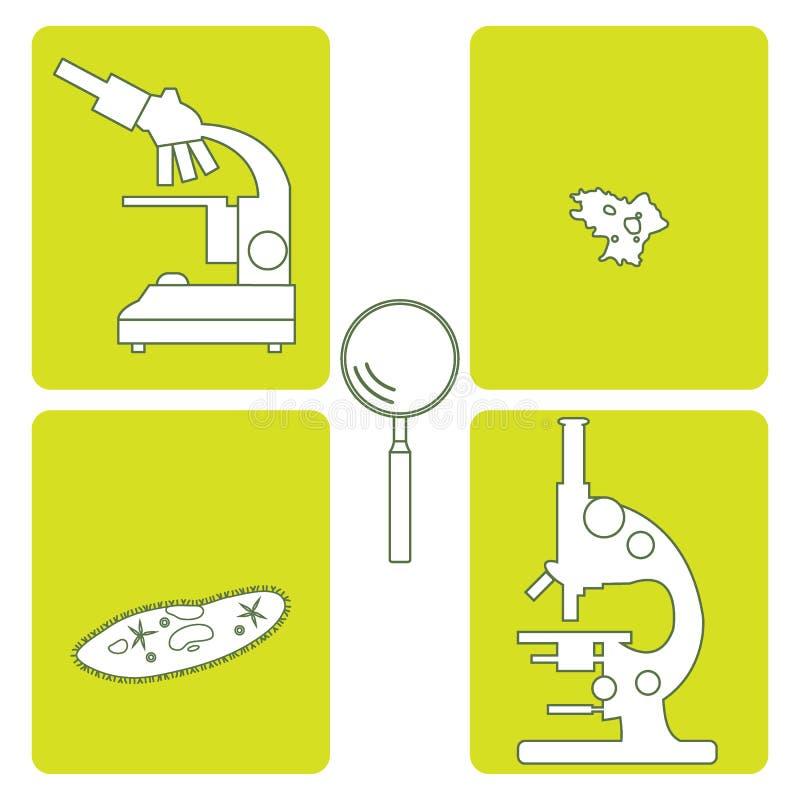 Gestileerde meer magnifier pictogrammen van microscopen, met haartjes bedekte -met haartjes bedekt-slippe amoebe, royalty-vrije illustratie