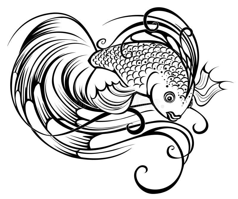 Gestileerde mooie vissen royalty-vrije illustratie