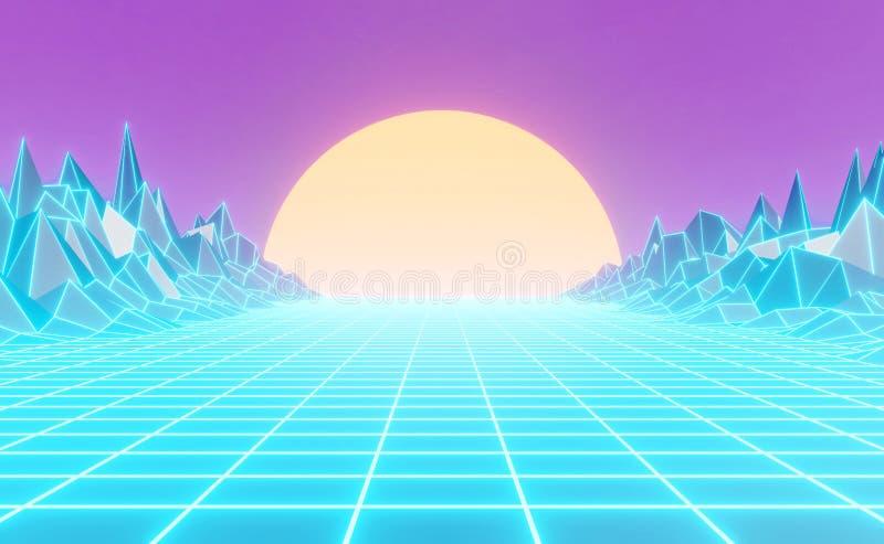 Gestileerde neon de jaren '80, uitstekend retro landschap, achtergrond stock illustratie