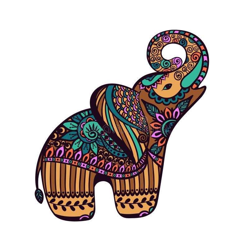 Gestileerde Olifant met abstracte kleurrijke achtergrond, Indische mamm stock foto's