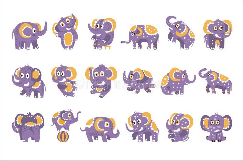 Gestileerde Olifant met Gestippelde Patroonreeks Kinderachtige Stickers of Drukken van Vriendschappelijk Toy Animal In Violet And royalty-vrije illustratie