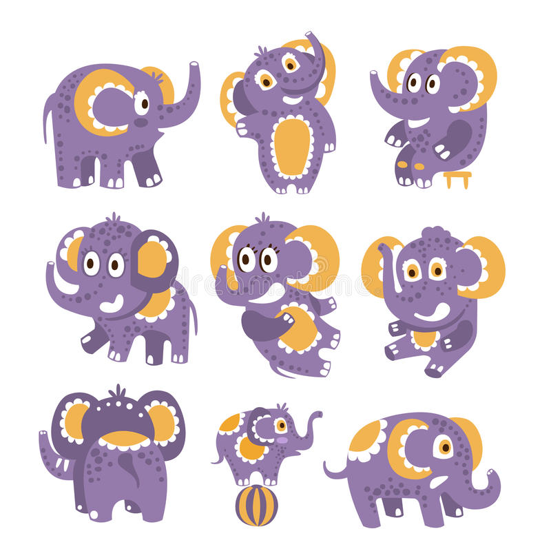 Gestileerde Olifant met Gestippelde Patroonreeks Kinderachtige Stickers of Drukken van Vriendschappelijk Toy Animal In Violet And vector illustratie