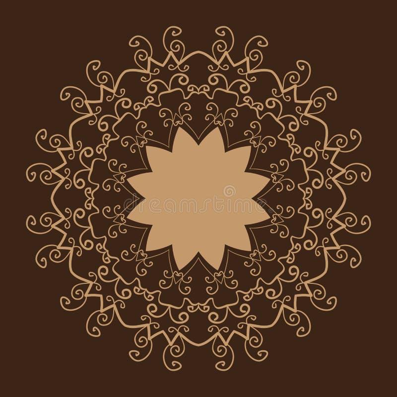 Gestileerde Oosterse Kant Bruine Kleur oosters vector illustratie