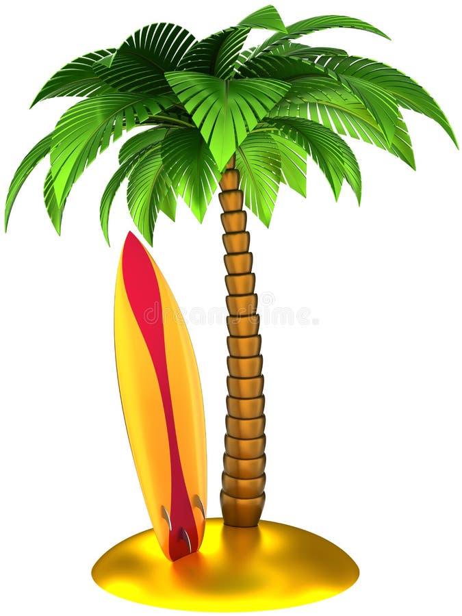 Gestileerde palm en surfplank vector illustratie