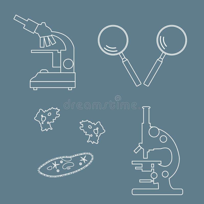 Gestileerde pictogrammen van microscopen, magnifiers, met haartjes bedekte -met haartjes bedekt-slipp amoebe, royalty-vrije illustratie