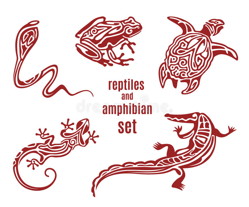 Gestileerde reptielen en amfibiepictogramreeks royalty-vrije illustratie