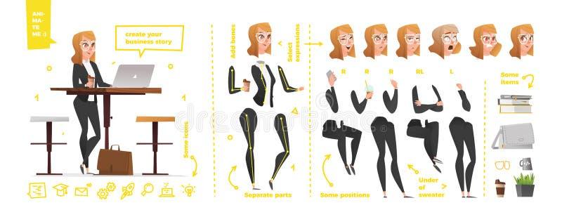 Gestileerde set van tekens voor animatie stock illustratie