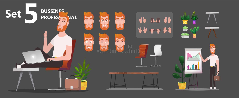 Gestileerde set van tekens voor animatie vector illustratie