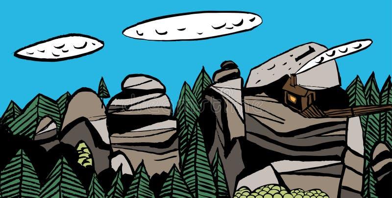 Gestileerde Siberische landschappen Reserve` Krasnoyarsk Pijlers `, `-Hutgriffioenen ` stock illustratie
