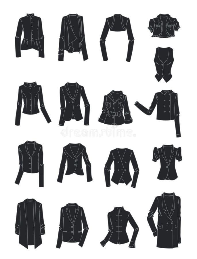 Gestileerde silhouetten van de jasjes van vrouwen vector illustratie