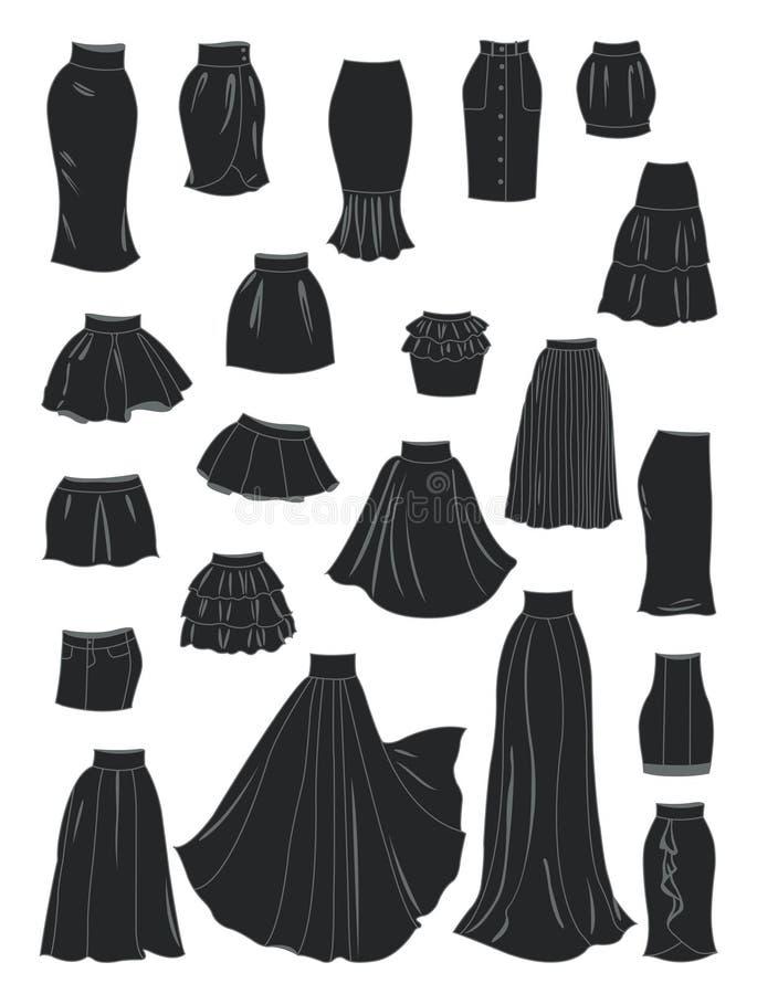 Gestileerde silhouetten van de rokken van vrouwen royalty-vrije illustratie