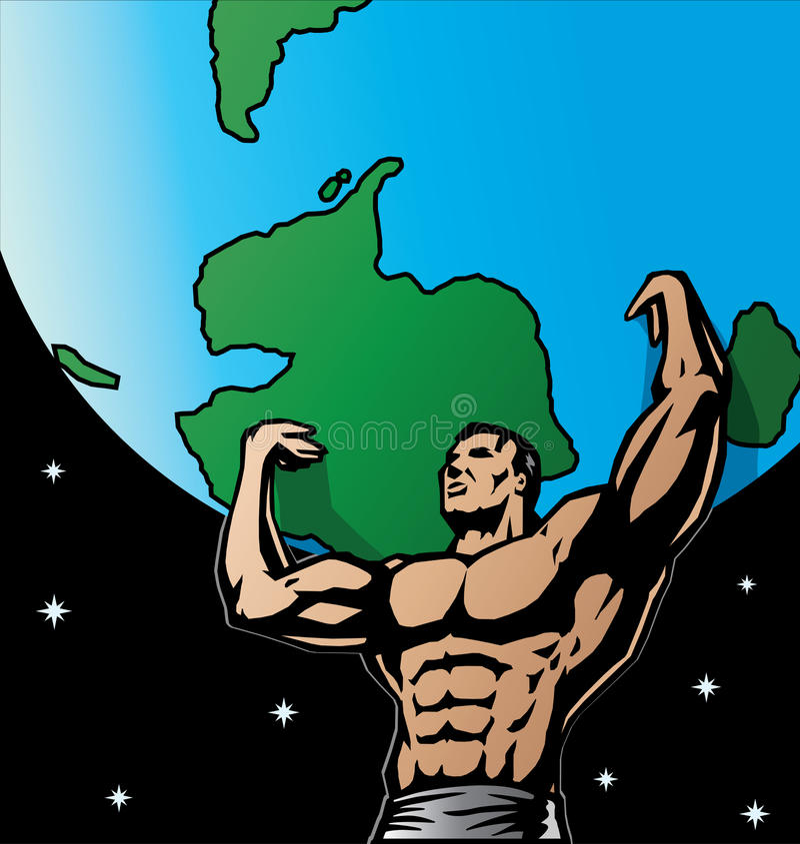 Gestileerde tekening van Atlas stock illustratie