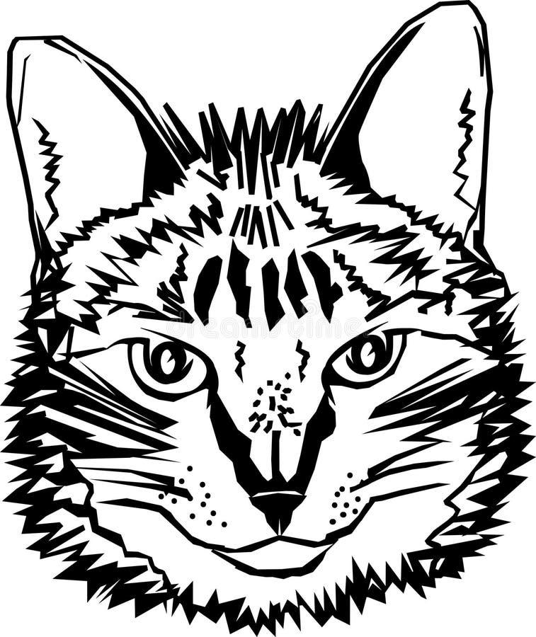 Gestileerde tekening van een katten` s hoofd zwart wit, voor t-shirt, dekking, en andere gebruiksvector stock illustratie