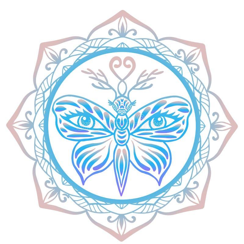 Gestileerde totem levenslust, tijgervlinder met hertengeweitakken en menselijke ogen op zijn die vleugels met bloemenmandalaachte stock illustratie