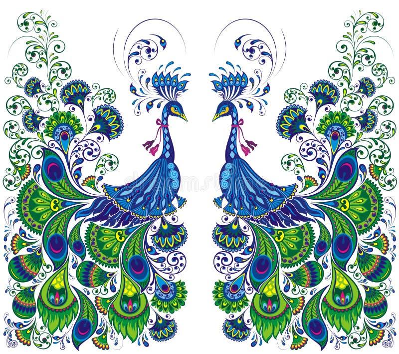 Gestileerde, vectorpauw Vector illustratie royalty-vrije illustratie