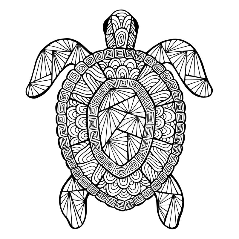 Gestileerde vectorschildpad, zentangle vector illustratie