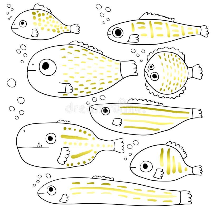 Gestileerde vissen Reeks abstracte overzeese vissen beeldverhaal inzameling Kinderen` s tekeningen Lijnart. Vector stock illustratie