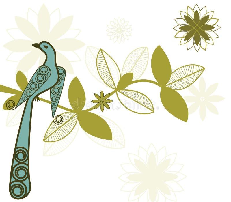 Gestileerde vogel op tak vector illustratie