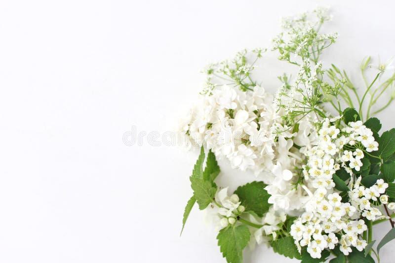 Gestileerde voorraadfoto Decoratieve bloemensamenstelling Wild verjaardagsboeket van tot bloei komende witte netel, sering, koepe stock afbeeldingen