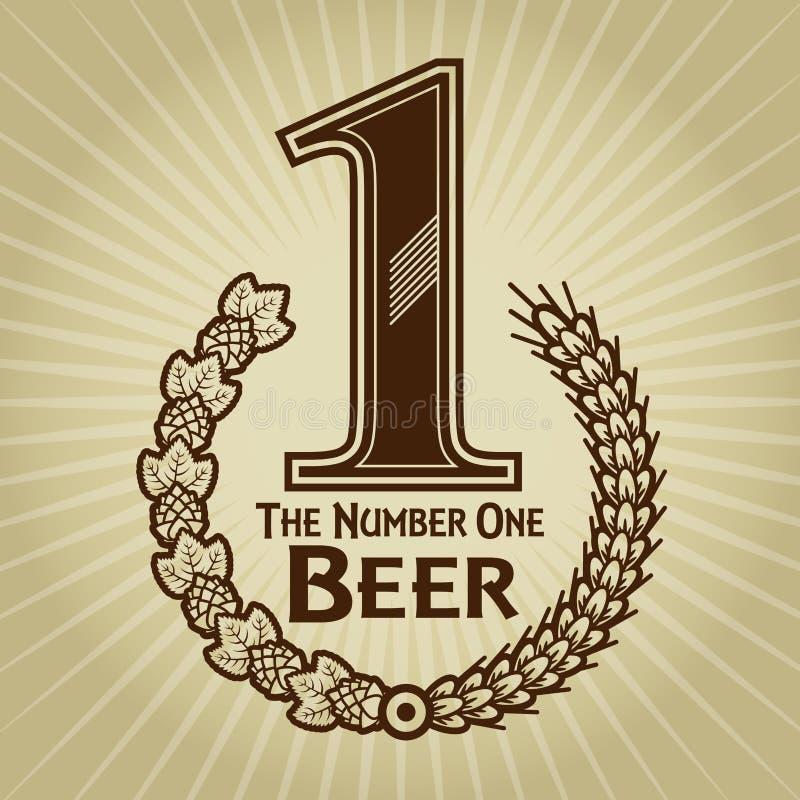 Aantal Één de Verbinding/het Teken van het Bier royalty-vrije illustratie
