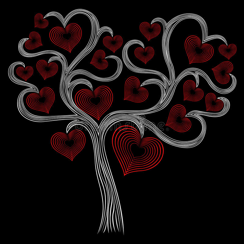 Gestileerde witte boom met rode harten vector illustratie