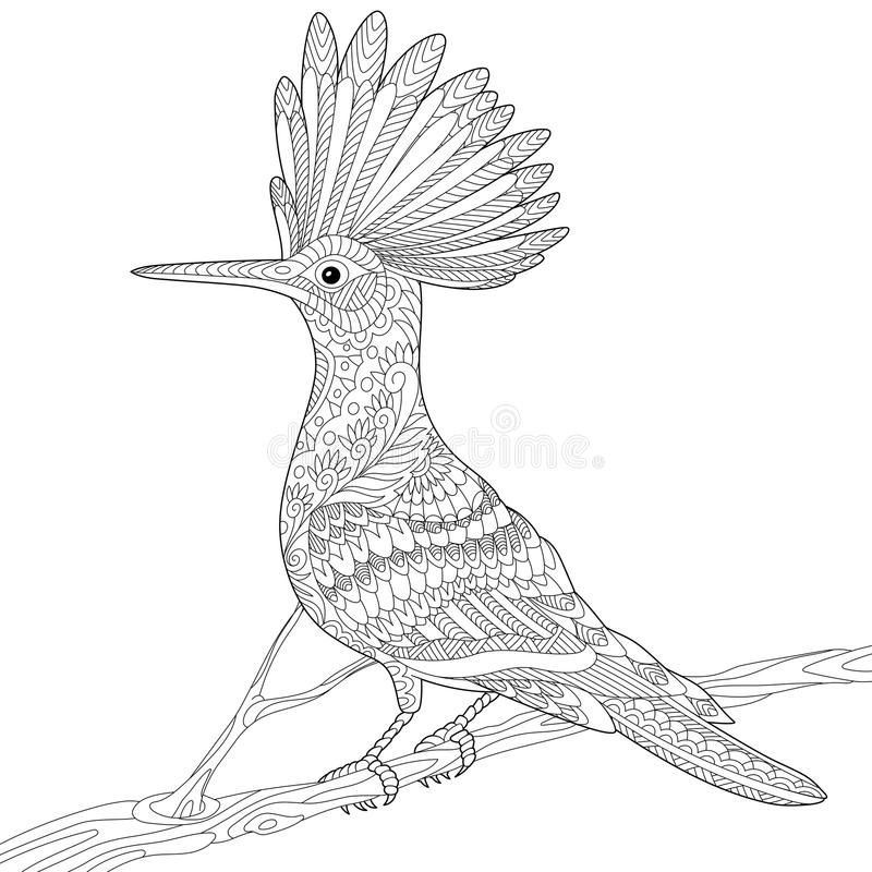 Gestileerde Zentangle hoopoe royalty-vrije illustratie