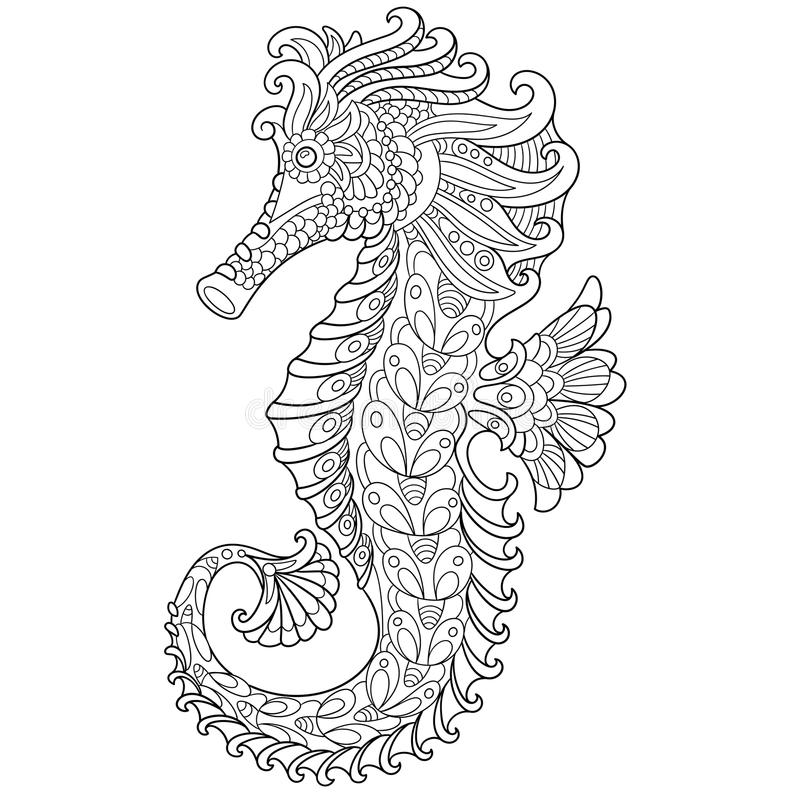 Gestileerde Zentangle seahorse stock illustratie