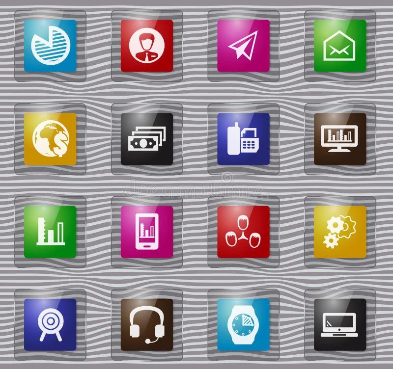 Gestion d'entreprise et icônes en verre de ressources humaines réglées illustration de vecteur