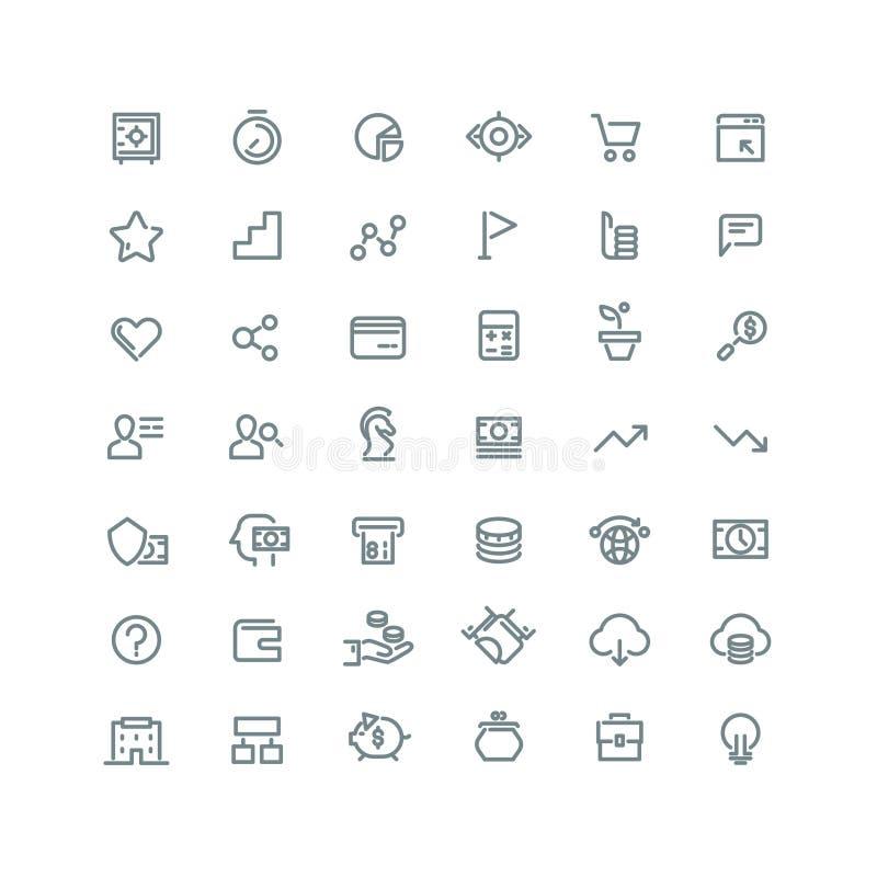 Gestion d'entreprise, stratégie, ligne icônes de vecteur de carrière réglées illustration stock