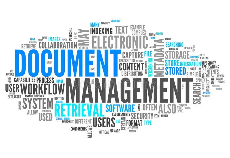 Gestion de documents de nuage de Word illustration libre de droits