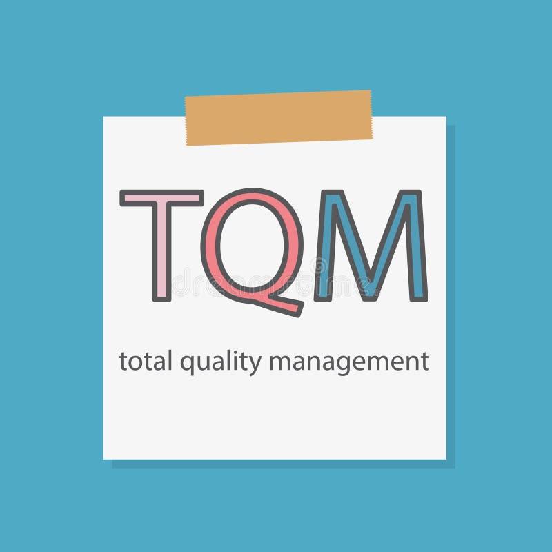 Gestion de la qualité de total de GIQ écrite sur un papier de carnet illustration libre de droits