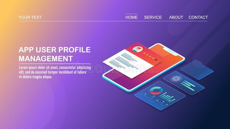 Gestion de profil d'utilisateur d'appli - application mobile - développement d'interface utilisateurs, concept de construction is illustration de vecteur