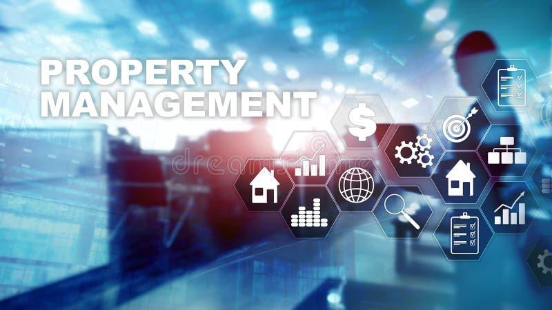 Gestion de propriété Concept d'affaires, de technologie, d'Internet et de réseau Fond brouillé par abstrait photographie stock