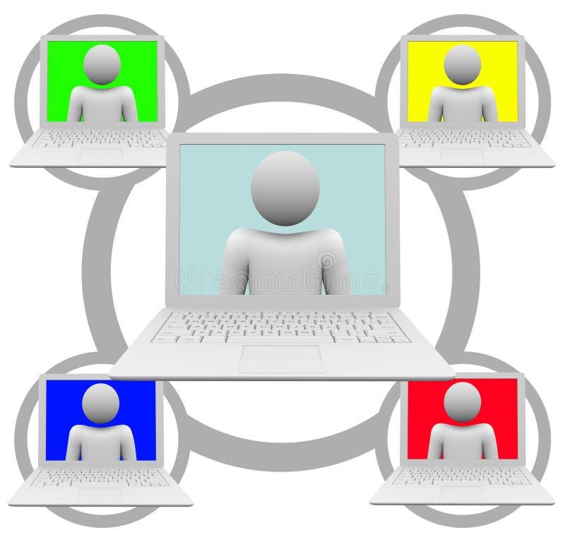 Gestion de réseau sociale sur des ordinateurs portables illustration libre de droits