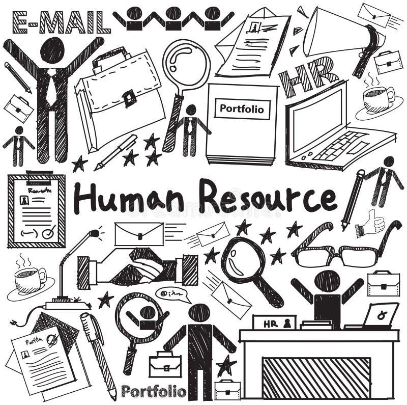 Gestion de ressource humaine dans l'icône de griffonnage d'écriture d'organisation illustration stock