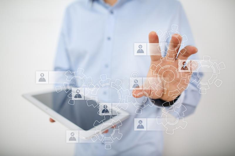 Gestion de ressources humaines d'heure Recrutement, louant, Team Building Structure d'organisation photos stock