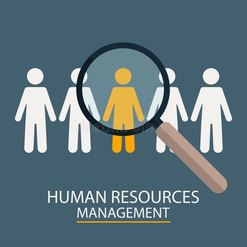 Gestion de ressources humaines Illustration de sélection de candidat Loupe avec des silhouettes de personnes illustration de vecteur