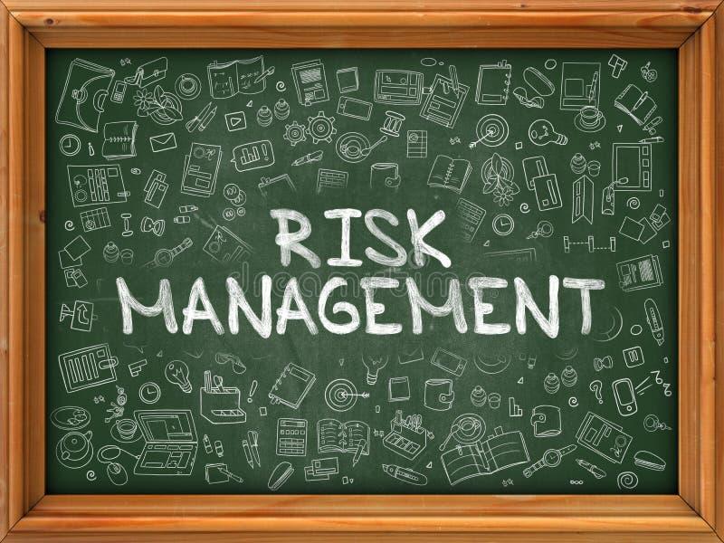 Gestion des risques tirée par la main sur le tableau vert illustration de vecteur
