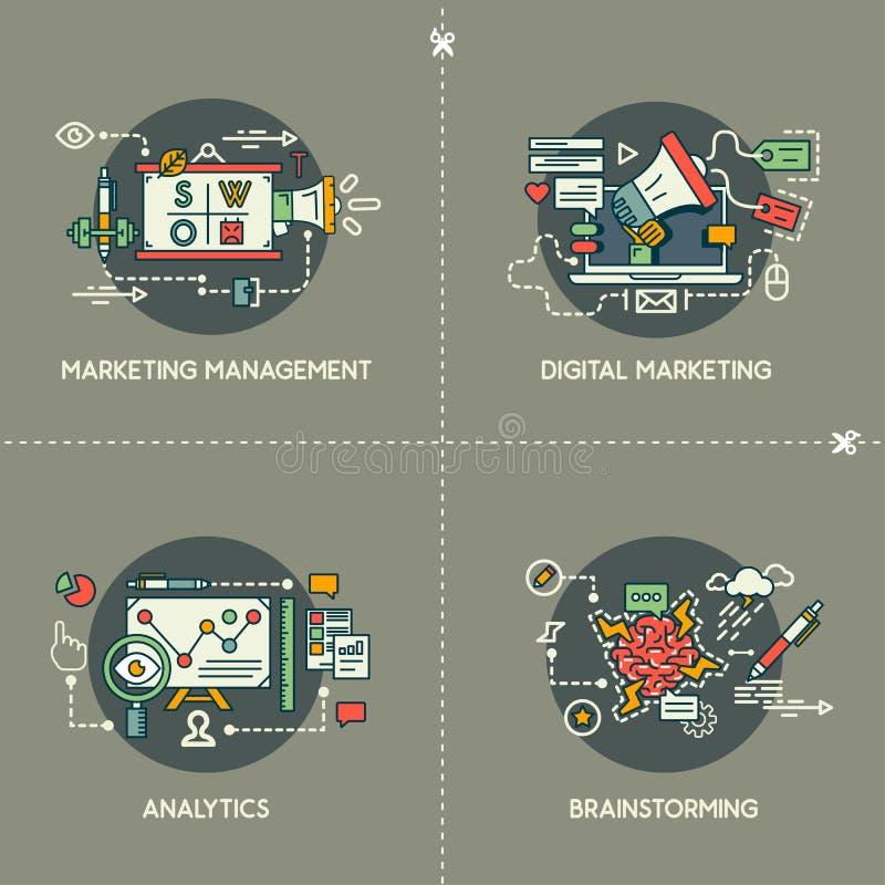 Gestion du marketing, vente de Digital, Analytics, séance de réflexion illustration stock